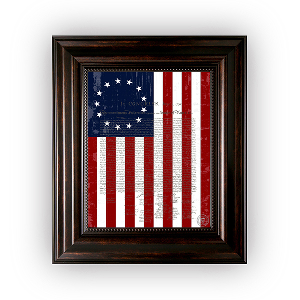 "1776 Betsy Ross Flag with the Declaration of Independence in a Brown Frame 11""x14"""