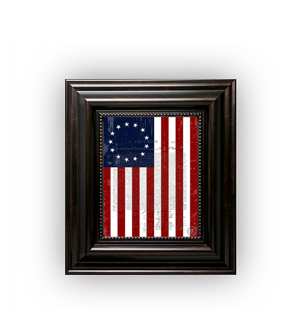"1776 Betsy Ross Flag with the Declaration of Independence in a Brown Frame 8""x10"""