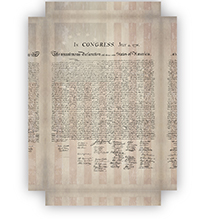 1776 Parchment Paper Declaration of Independence with a Faded 1776 Flag Background Canvas