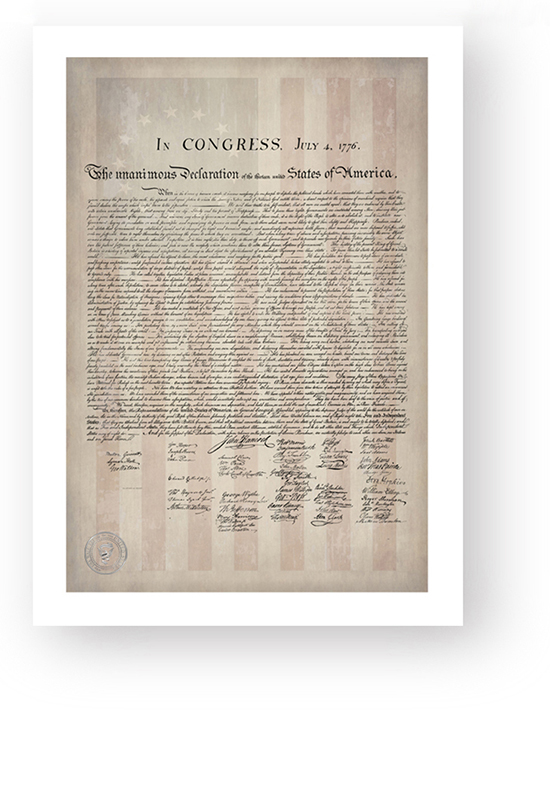1776 Parchment Paper Declaration of Independence with a Faded 1776 Flag Background Poster