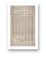 1776 Parchment Paper Declaration of Independence with a Faded 1776 Flag Background