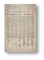 1776 Parchment Paper Declaration of Independence with a Faded 1776 Flag Background Wall Decal / Adhesive Poster