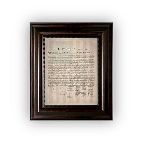 Framed 1776 Parchment Paper Declaration of Independence with a Faded 1776 Flag Background