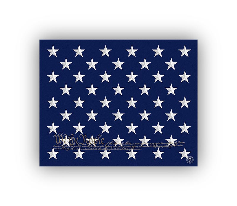 50 Stars and 50 States with We the People in gold on a canvas