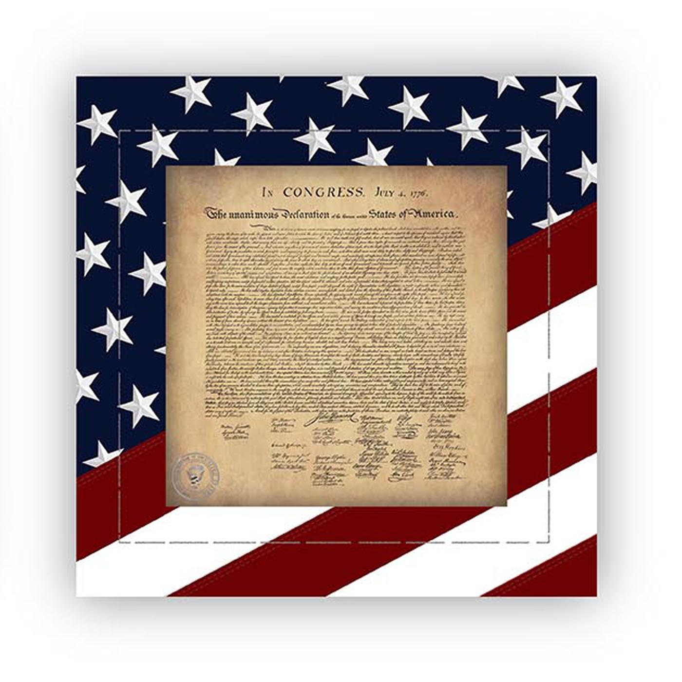 Declaration fo Independence with a Red White and Blue Stars and Stripes border  - Canvas