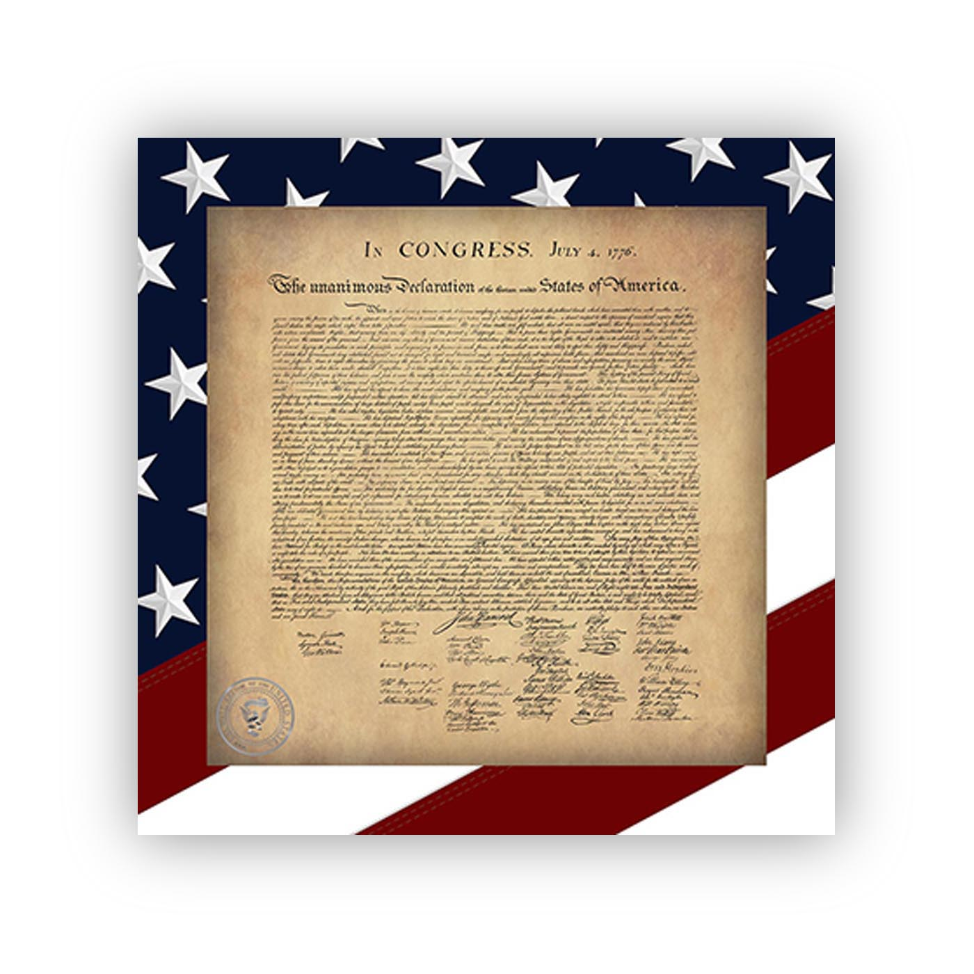 Declaration fo Independence with a Red White and Blue Stars and Stripes border  - Wall Decall / Adhesive Posters